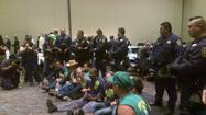 SACRAMENTO -- Thirteen people were arrested Wednesday at the UC regents meeting during a sit-down protest by healthcare workers threatening to strike at the system's medical centers.