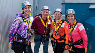 Arlene Campbell and Barbara Freeman, both of Naperville, and Amy McNevin and Allen Stafanick joined 67 daring participants to rappel 27 stories of theWit Hotel during Skyline Plunge! Chicago on May 5. The event was sponsored by Respiratory Health Association to raise funds and awareness for local lung disease research and programs.