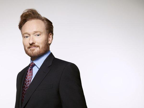 Conan O'Brien performed at the TBS / TNT upfront presentation, and introduced comedian Pete Holmes, whose new late-night program joins O'Brien's on TBS in November.