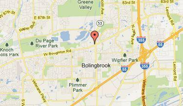 Map of Route 53 and Boughton Road in Bolingbrook.