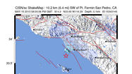 A 4.0 magnitude earthquake occurred about 1 p.m. Wednesday off the Palos Verdes Peninsula.