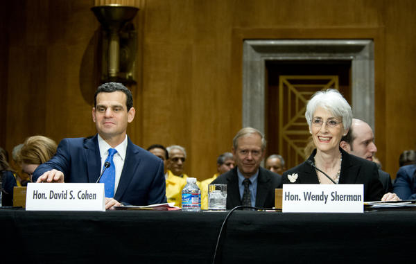 U.S. Undersecretary of State for Political Affairs Wendy Sherman and Treasury Undersecretary for Terrorism and Financing David Cohen testify before the Senate Foreign Relations Committee in Washington.