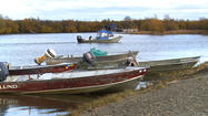 Numerous boats sitting in dry storage in Naknek are a quiet precursor to the busy sockeye salmon fishing season that transforms this community. The population increases tenfold in the summer to support the most profitable commercial sockeye fishery in the world.