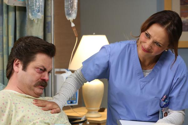 "Nick Offerman (with Rashida Jones) in ""Parks and Recreation."""