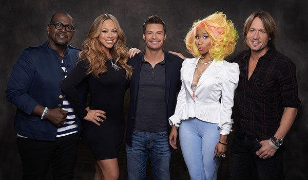 """American Idol,"" from left, Randy Jackson, Mariah Carey, host Ryan Seacrest, Nicki Minaj and Keith Urban."