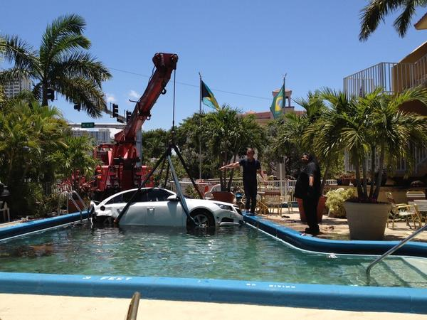 A driver was transported to Broward Health Medical Center after her car slammed into an unoccupied parked Chevy Cruze about noon Wednesday. The impact sent the parked car into the pool at the Ocean Mile Inn at 4101 N. Ocean Boulevard in Fort Lauderdale.