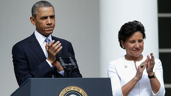 President Barack Obama with Penny Pritzker at the White House on May 2.