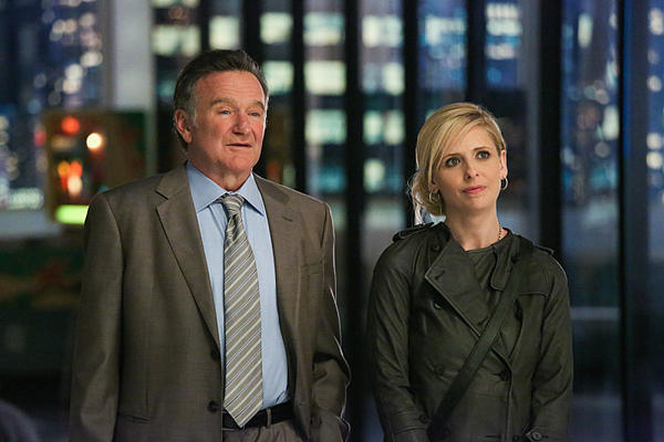 "Academy Award winner Robin Williams returns to series television in ""The Crazy Ones,"" CBS' new comedy about a larger-than-life advertising genius. He's seen here with costar Sarah Michelle Gellar in the pilot episode."