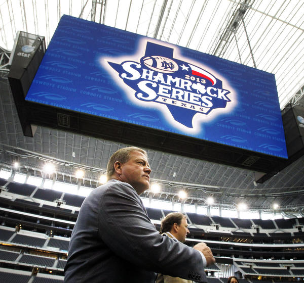 "Notre Dame coach Brian Kelly at Cowboys Stadium in Arlington, Texas. Notre Dame is scheduled to play Arizona State in the $1.2 billion showplace of the Dallas Cowboys in the latest of the so-called ""Shamrock Series""  home games away from storied Notre Dame Stadium."