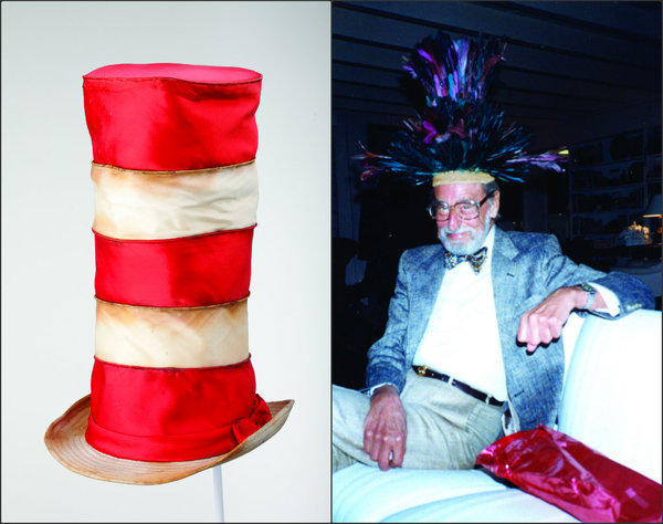 At left, a red-and-white striped top hat that's part of a traveling exhibit of Seussian headgear that will be at the Fingerhut Gallery Laguna Beach on Friday to June 2. At right, Theodor Geisel, a.k.a. Dr. Seuss, wears a fantastical hat in an undated photo.
