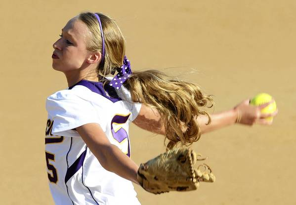 Menchville's Darby Deanhoffer pitches during the quarterfinals of the Peninsula District softball tournament Wednesday in Newport News.