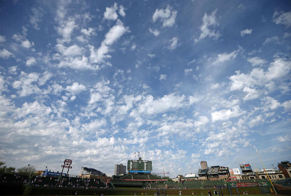 Sunny skies over Wrigley Field before the Cubs and Rockies played on Wednesday.