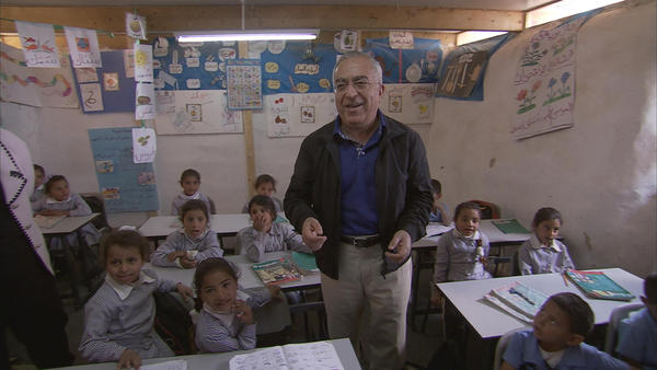 Salam Fayyad at Palestinian school