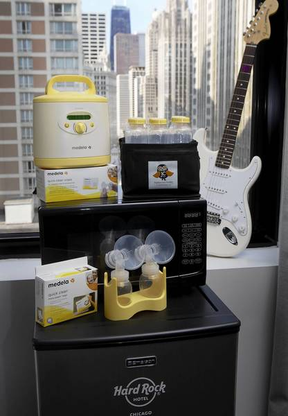 The Hard Rock Hotel Chicago is offering a Nursing Mothers Amenity Program, which provides moms with a breat pump and accessories.