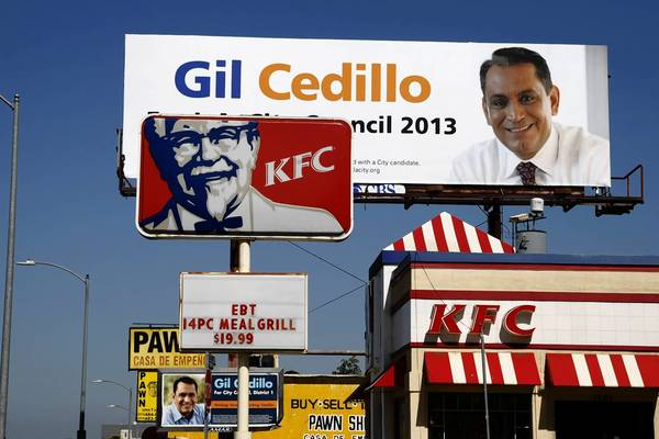 A billboard for Gil Cedillo, who is running for City Council, is seen at 1501 W. 6th St. in Los Angeles. At least 60 signs promoting Cedillo dot such communities as Cypress Park, Glassell Park and Westlake.
