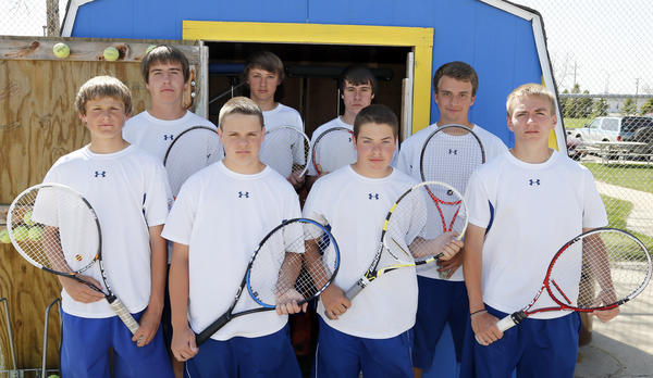Aberdeen Central's boys' tennis team will play in the state tournament today through Saturday at Sioux Falls. Golden Eagles team members are, back row left to right, Adam Zimmerman, Dillon Prissel, Joey Crompton and Aaron Lorenz; and, front row, Jesse Margolies, Matt Hollan, Eric DeBoer and Alex Grandbois.
