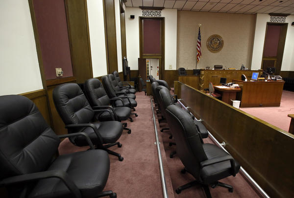 View from the jury box of the United States District Courtroom in the federal courthouse in downtown Aberdeen.