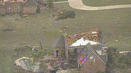 Dallas-Ft Worth aerial image of tornado damage left behind in Hood County