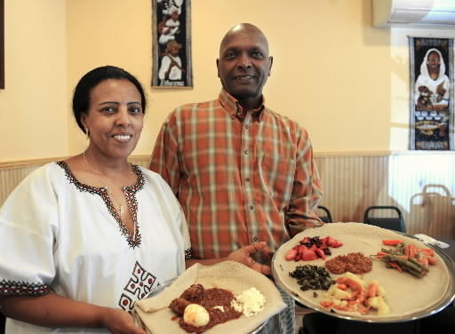 Beleteshachew and Ebisa Mulata, are co-owners of Mariam's Ethiopian Restaurant in Allentown. Doro wot is a veggie combo that contains lentil sauce, cabbage, potato, carrots, beets and collard greens.