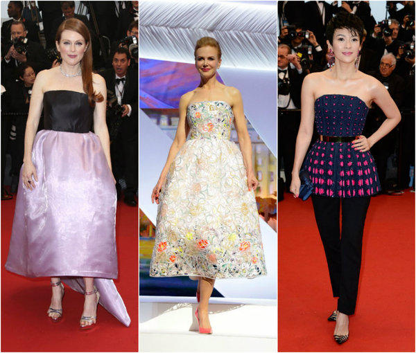 From left, Julianne Moore, Nicole Kidman and Zhang Ziyi all in Dior at the opening ceremony of the 66th Annual Cannes Film Festival.