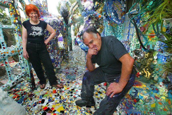 Artists Cheri Pann and Gonzalo Duran, photographed in 2003 at their mosaic tile house. The home will be open for the Venice Art Walk & Auctions.
