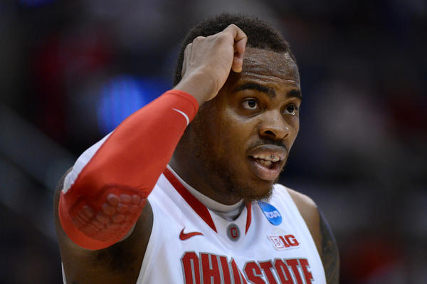 Deshaun Thomas of the Ohio State Buckeyes looks on while taking on the Wichita State Shockers during the West Regional Final of the NCAA tournament in March.