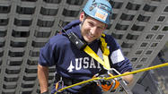 Chris Fryzek was one of 67 daring participants to rappel 27 stories of theWit Hotel during Skyline Plunge! Chicago on May 5. The event was hosted by Respiratory Health Association to raise funds and awareness for local lung disease research and programs. Two-thirds of Skyline Plunge! participants rappelled because they have been affected by lung disease, like Chris.