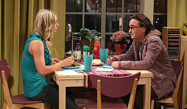 "Kaley Cuoco, left, and Johnny Galecki in ""The Big Bang Theory"" season six finale."
