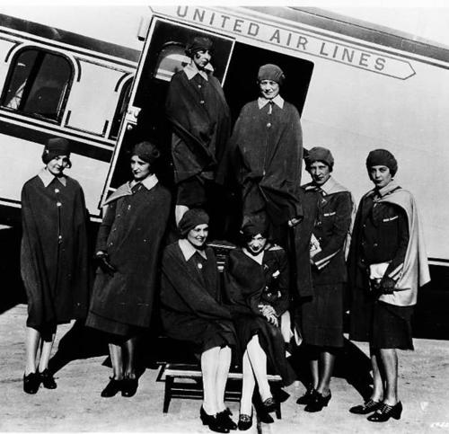 Airline stewardesses pose in front of a United Air Lines' Boeing transport in San Francisco, Calif., in this May 15, 1930 file photo. Ellen Church, standing in the left side of the doorway, is considered the first stewardess after a Boeing executive created the job for her. Standing in foreground from left are the others she helped hire: Margaret Arnott, Inez Keller, Cornelia Peterman, Harriet Iden, Jessie Carter and Ella Crawford. Standing in the right of the doorway is Alva Johnson. United Airlines made the largest bankruptcy filing in aviation history Monday, Dec. 9, 2002, saying it was the only way to keep the world's No. 2 airline flying after two years of heavy losses. The Chapter 11 filing was the fifth-largest ever as measured by assets.