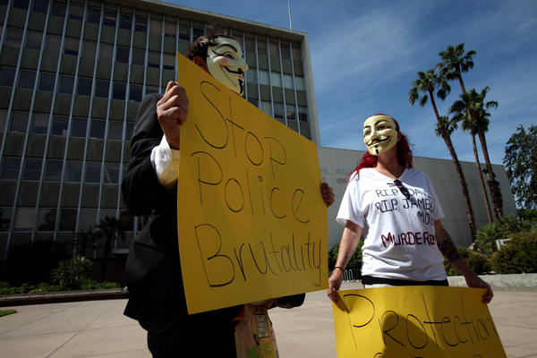 Protesters gather outside the Kern County Superior Court building in Bakersfield on Thursday in response to the death of David Sal Silva after he was beaten by Kern County sheriff's deputies.