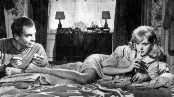 "James Mason as Humbert Humbert with Sue Lyons in the 1962 film version of Vladimir Nabokov's novel ""Lolita."""