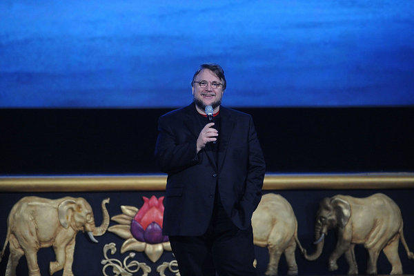 Director Guillermo del Toro speaks to advertising executives at the AMC Loews Lincoln Square movie theater in New York.