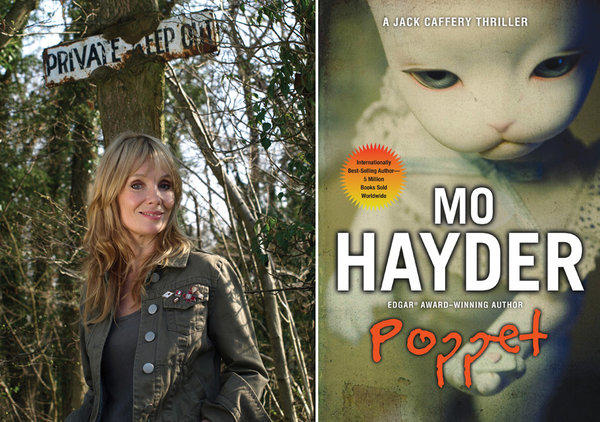 "Author Mo Hayder and the cover of her book, ""Poppet."""