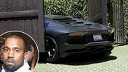 The gate to Kim Kardashian's driveway has shut on Kanye West's very expensive Lamborghini.