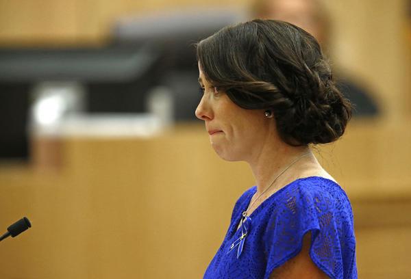 Samantha Alexander, sister of murder victim Travis Alexander, cries as ...