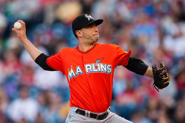 May 2, 2013; Philadelphia, PA, USA; Miami Marlins pitcher Alex Sanabia (28) delivers to the plate during the first inning against the Philadelphia Phillies at Citizens Bank Park. Mandatory Credit: Howard Smith-USA TODAY Sports ORG XMIT: USATSI-121166