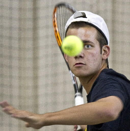 Menchville's Stuart McCroskey, shown recently at Centre Court Racquet Club, won a third-set tiebreak Thursday to ensure the Monarchs' bid to the state team tournament.