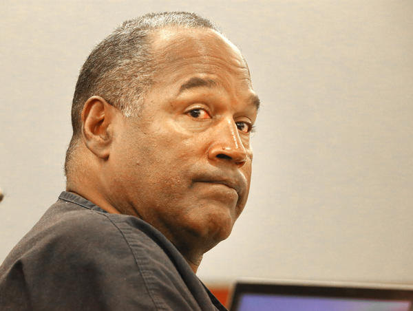 O.J. Simpson listens during an evidentiary hearing in Clark County District Court on Thursday.