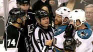 San Jose Sharks forward Raffi Torres was suspended for the remainder of his team's Western Conference semifinal playoff series against the Kings -- a ban of up to six games -- for what the NHL judged was an illegal hit to the head of Kings center Jarret Stoll on Tuesday.