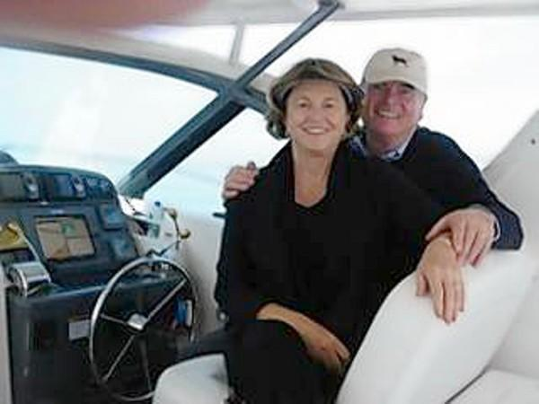 "Irene and Doug West aboard ""Islander."""