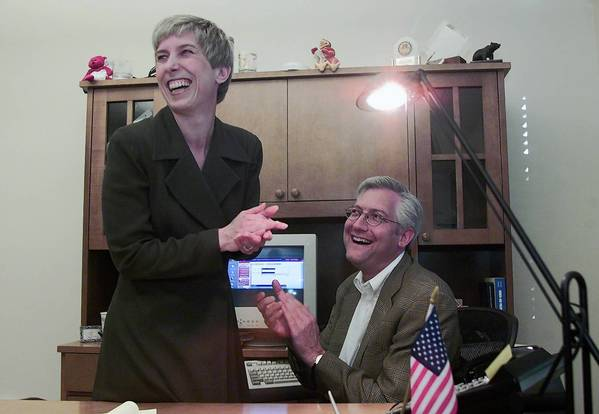 In this photo from 2002, Wendy Greuel and her future husband, Dean Schramm, react in her office at DreamWorks SKG after learning that she had won the runoff election for the 2nd District seat on the L.A. City Council. As a candidate for mayor, Greuel ofen refers to her time as a high-ranking executive at the studio.