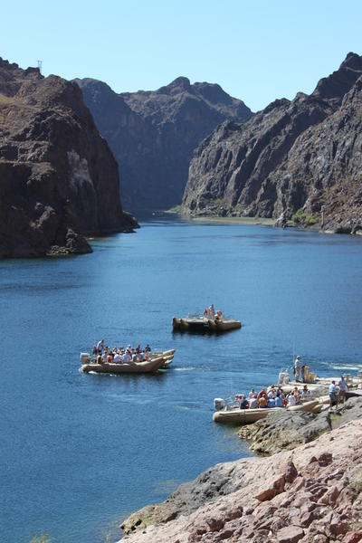 Visitors to southern Nevada take a leisurely rafting trip along the Colorado River as part of a new, full-day tour that leaves from Las Vegas.