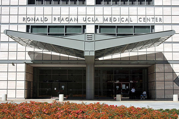 The front entrance of the Ronald Reagan UCLA Medical Center is shown.