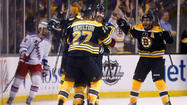 Brad  Marchand netted the  winner at 15:40 of  overtime as the Boston Bruins took a 3-2 win over the New York Rangers in Game  1 of this Eastern Conference semifinal series.