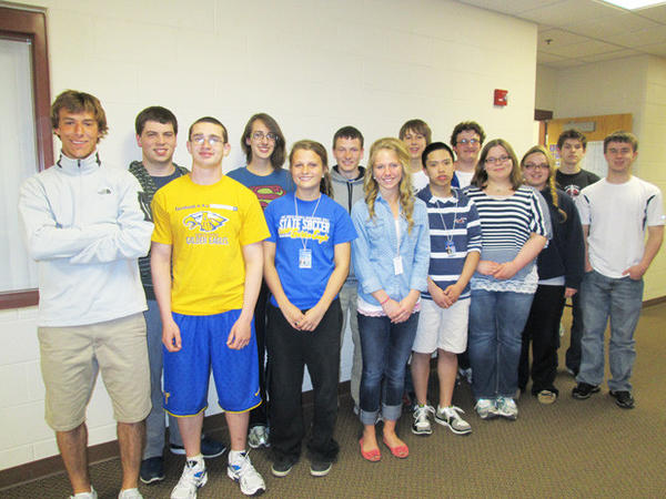 Students representing Aberdeen Central High School at the National History Day contest are back row, from left: Sam Vassar, Kallie Marske, Marc Seitz, John Wieland, Connor Erhardt and Caleb Vilhauer. Front row, from left: Grant Patronik, Alex Steed, Rachel Hagen, Emma Johnson, Bin Huang, Aliza Rux, Sydney Gelling and Christian Zetterlund.