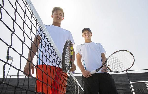 Corona del Mar's No. 1 doubles team Josh Kliger, left, and Carson Williams will play University in the CIF Southern Section Division 1 championship Friday.