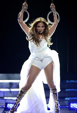 "Singer and former ""American Idol"" judge Jennifer Lopez performs onstage during Fox's ""American Idol 2013"" finale results show at Nokia Theatre L.A. Live."