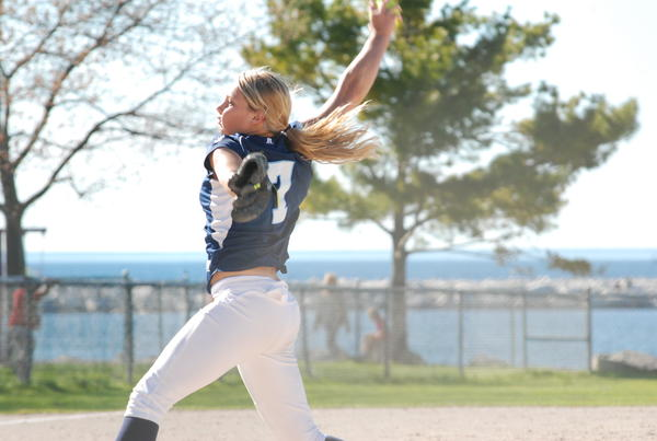 Petoskey senior Annie Hansen pitches during the opening game of Thursday's non-league doubleheader agaisnt Sault Ste. Marie at Bayfront Park's Ed White Field. The Northmen swept the Blue Devils, 6-4, 10-2, to improve to 9-9 overall.