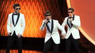 Lonely Island preformes at the 63rd Annual Emmy Awards