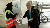 Raw video: Mayor Emanuel passes out Red Line information at El stop